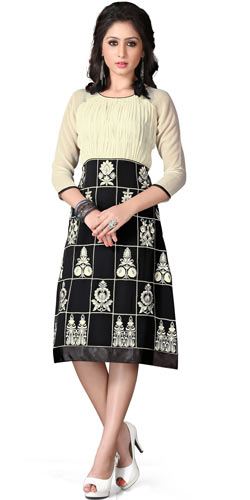 Charming Georgette Embroidered Kurti in Beige and Black Colour