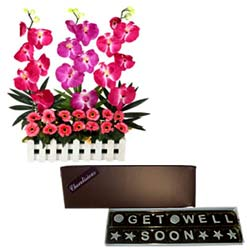 Long Lasting Orchids Arrangement Combined with Homemade Get Well Soon Chocolates