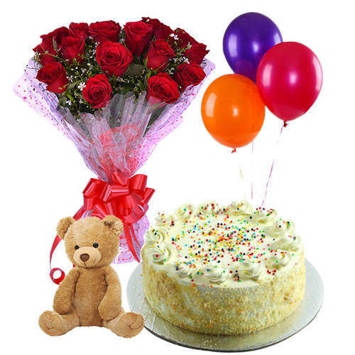 Enticing Vanilla Cake with Red Roses Hand Bunch, Small Teddy & Balloons