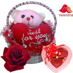 Impressive Valentino Teddy and Chocolates in a Beautiful Basket