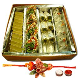 Marvelous Rakhi Bond with Assortment of Sweets from Haldiram and Lovely Free Rakhi, Roli Tilak and Chawal for your Dear Brother<br>