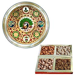 Holi Special Love and Concern with Meenakari styled Subh Labh Stainless Steel Thali with Assorted Dry Fruits
