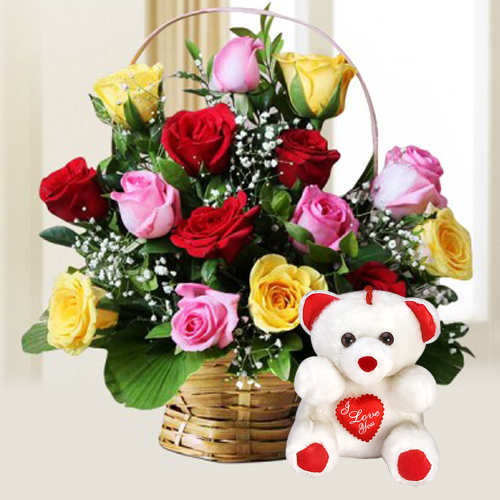 Lovely Celebrate the Moments 15 Mixed Roses with cute Teddy Bear