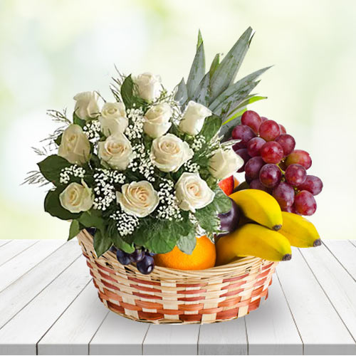 Traditional Only for You White Roses N Fruits Basket