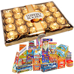 Ideal Diwali Treat of 24 Pc. Ferrero Rocher Chocolates Box N Fire Cracker