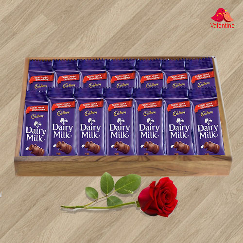 Cadbury Dairy Milk with a Red Rose for your Valentine