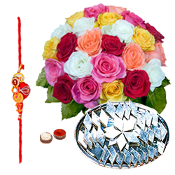 Delicious Kaju Katli and Arrangement of 24 Mixed Colorful Roses with Free Rakhi Roli Tika and Chawal