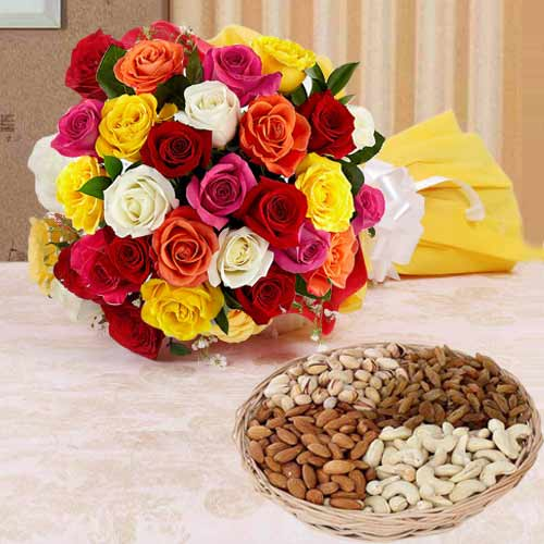 Vibrant 24 colorful Roses along with palatable Dry Fruits