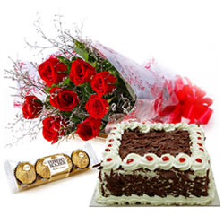 Floral Fantasy Fresh Red Rose Bouquet with Ferrero Roacher and Cake