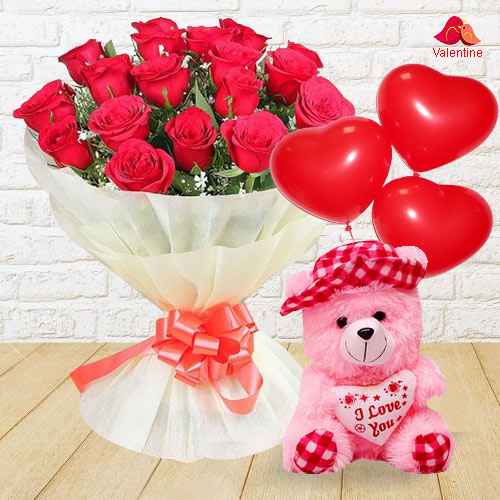 Bouquet of Red Roses with Teddy and Balloons for Valentine