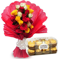 Marvelous Mixed Roses with Ferrero Chocolate