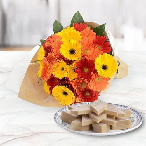 Garden-Fresh Mixed Gerberas Arrangement with Treasured Kaju Katli