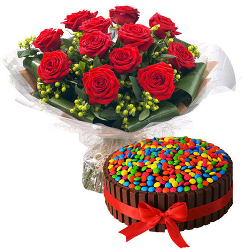 One-of-a-Kind Kit Kat Cake with Red Roses Bouquet
