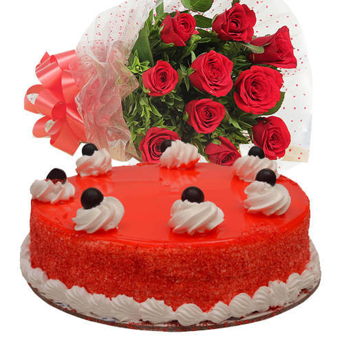 Bakery Fresh Red Velvet Cake with Gorgeous Red Roses Bouquet