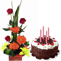 Seasonal Flower Arrangement with Black Forest Cake