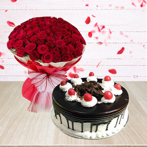 Eye-Catching 50 Red Roses Arrangement with 1/2 Kg Black Forest Cake