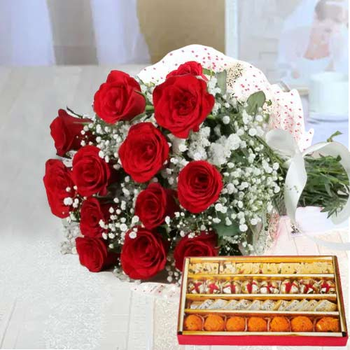 Charming Red Roses bunch and tasty mixed Sweets