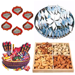 Big Hamper of Kaju Katli, Dry Fruits, Crackers and Diya