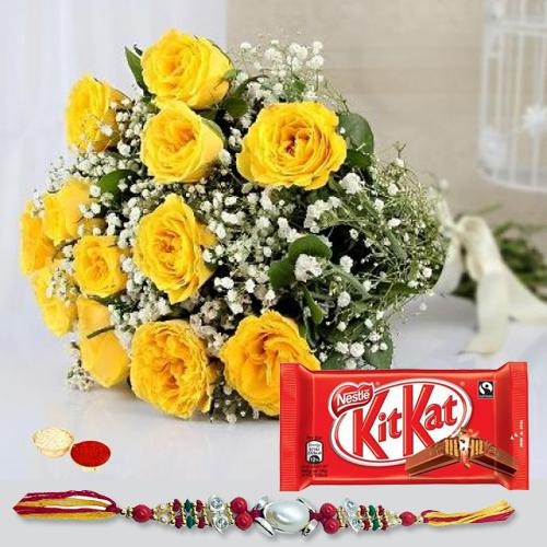 Wonderful Rakhi Selection Gift of Yellow Rose Bouquet and Kitkat Chocolate Pack with Rakhi Roli Tika and Chawal