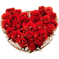 Red Roses in a bonny Heart Shape arrangement