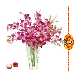 Lovely Bunch of Purple Orchids in a Vase with Free Rakhi Roli Tika and Chawal for your Loving Brother (Only for Major Cities / Towns)