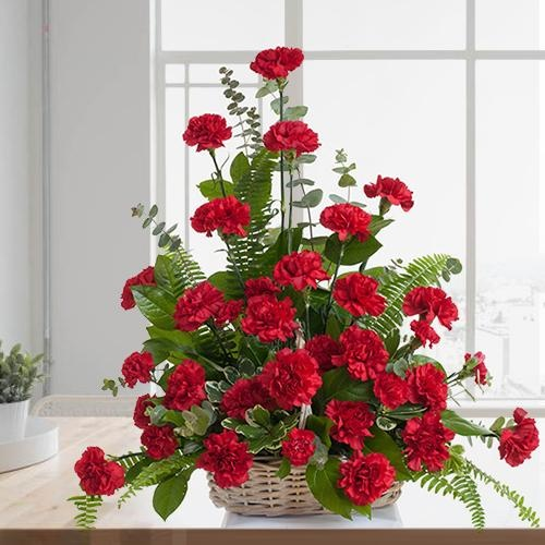 Attractive 12 Red Carnations Basket