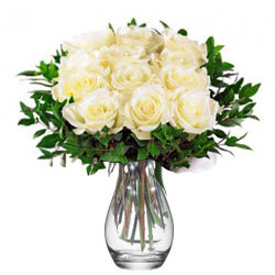 Gorgeous Good Wishes Vase of White Roses