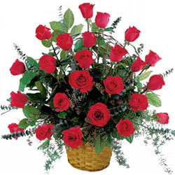 Magnificent Red Coloured Roses Arrangement in a Basket<br>