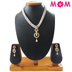 Dazzling Pearl Drop 2 Line Necklace with Earrings