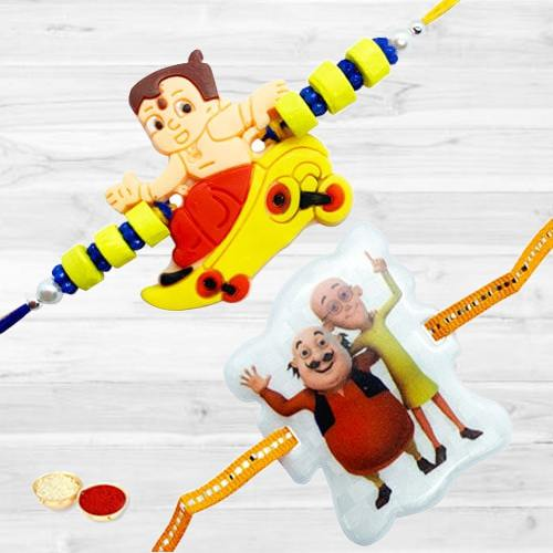 Fabulous Rakhi Special 2 Kids Rakhi with Free Roli Tilak and Chawal for your Dear Small Brother