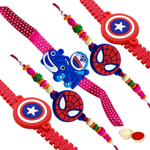 Marvelous Rakhi Special Five Sweet Kids Rakhi with free Roli Tilak, and Chawal for your Sweet Brother