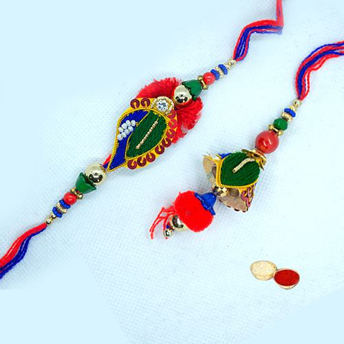 Gorgeous Pair Rakhi N Lumba Set for Beloved Bhaiya n Bhabhi