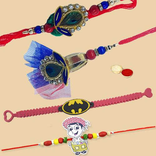 Remarkable Present of Pair Rakhi Set for Bhaiya Bhabhi with 2 Kids Rakhi Gift Set