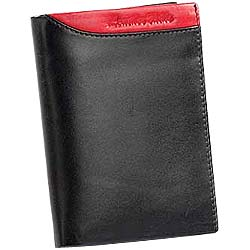 Genuine Leather Black Leather Wallet from Leather Talks for Men with Red Leather Style Patch