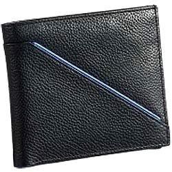Leather Talks Genuine Leather Gents Wallet in Black with Blue Leather Stripe