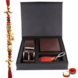 Elegant Gift Set of Wallet, Key Ring and Belt with Free Rakhi and Roli Tilak Chawal