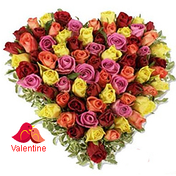 <u><font color=#008000> MidNight Delivery : </FONT></u>:Multi Coloured Heart Shaped Arrangements