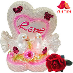 Romantic LED Lighted Love Heart with Bird Couple Showpiece with a Free Velvet Rose