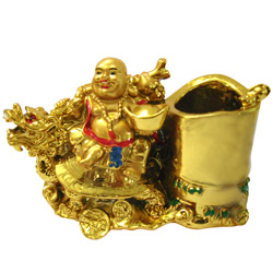 Arresting Laughing Buddha on Dragon Boat Pen Stand