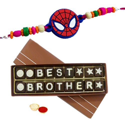 Attractive Best Brother Chocolate Gift Pack and Spiderman Rakhi, Roli Tilak and Chawal for Raksha Bandhan Celebration