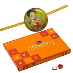 Classic Raksha Bandhan Gift of Celebration Chocolate Pack and Hanuman Rakhi with Roli Tilak, Chawal for your Brother