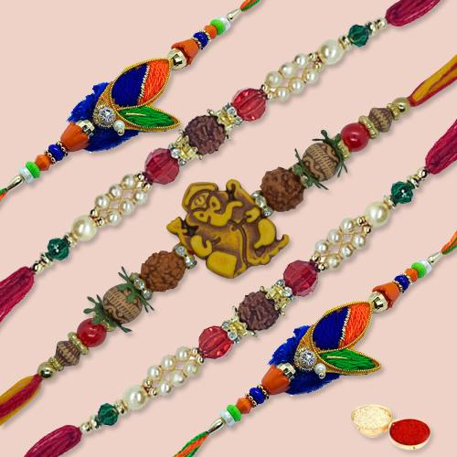 Superb 5 Pieces Thread Rakhi Set with free Roli Tilak and Chawal for your Precious Brother on the Occasion of Rakhi