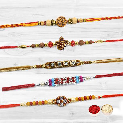 Scintillating Set of 5 Pcs Glittering Rakhis