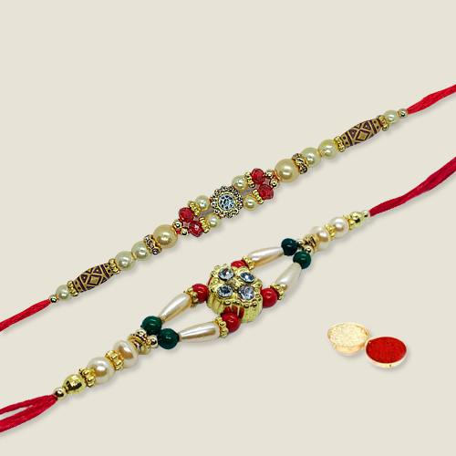 Ravishing Two Piece Rakhi Set with free Roli Tilak and Chawal for your Precious Brother on the Occasion of Rakhi