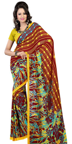 Impressive Georgette Printed Saree in Brown and Mustard Colours