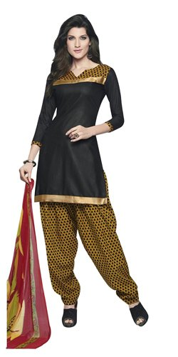 Trendy Cotton Printed Patiala Suit in Black and Yellow