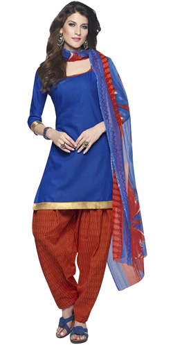 Trendy Cotton Printed Patiala Suit Shaded in Blue and Red
