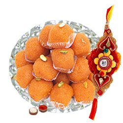 Breathtaking Arrangement of Free Decorative Rakhi, Roli Tilak and Chawal with Haldiram Pure Ghee Ladoo for this Rakhi Festival
