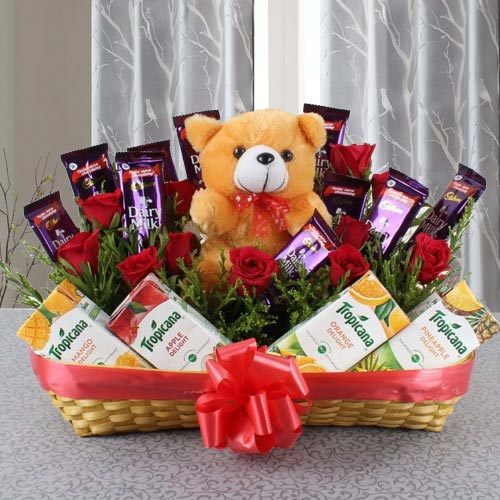 Wonderful Basket of Chocolates with Fruit Juice N Teddy