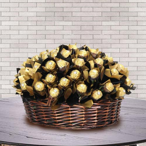 Exquisite Basket of Ferrero Rocher Chocolate